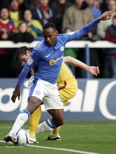 Saido Berahino in action for Peterborough United in the Championship