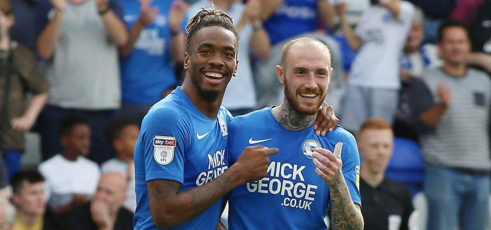 Ivan Toney and Marcus Maddison in action for Peterborough United